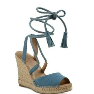 NWOT. Merona Maren Lace Up Wedge Espadrilles